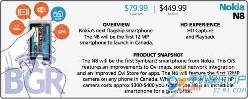 国外运营商定制诺基亚N8 仅80美元